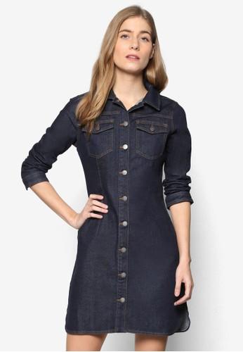 針縫esprit童裝門市滾邊鈕扣丹寧連身裙, 服飾, 洋裝