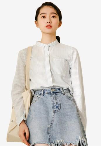 Shopsfashion white Oriental Collar Shirt B8465AAE5A455FGS_1