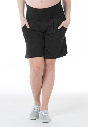 Bove by Spring Maternity black Bamboo knitted Gabby Shorts LB701 B9EE9AABB2D06EGS_1
