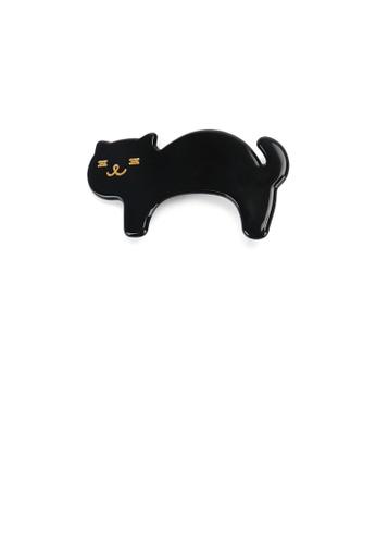 Glamorousky silver Simple and Cute Black Cat Hair Clip 11E8BAC752EDF3GS_1