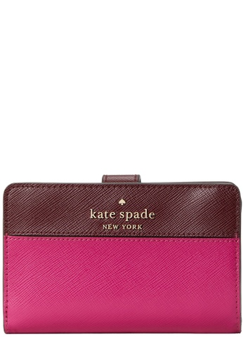 Kate Spade red and pink Kate Spade Staci Medium Compact Bifold Wallet in Pink Multi 47FD2ACC950256GS_1