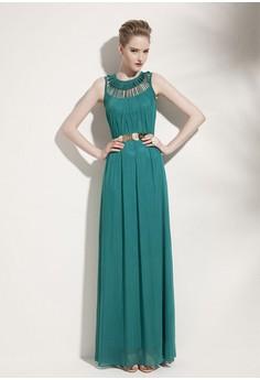 Women's O-Neck Solid Floor Length Pleated Long Dress