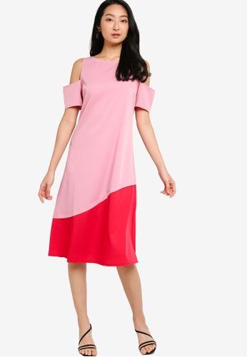 ZALORA BASICS pink Cold Shoulder Colourblock Midi Dress 1AB35AA308A7FCGS_1