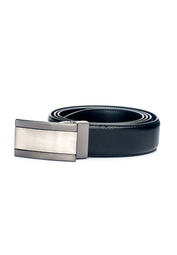 ENZODESIGN black Fine Textured Leather Two Tone Buckle Belt EN357AC0F58MSG_1