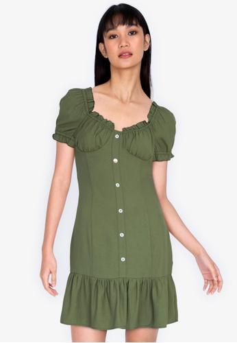 ZALORA BASICS green Flutter Hem Button Front Dress 48EDAAAD8213DDGS_1