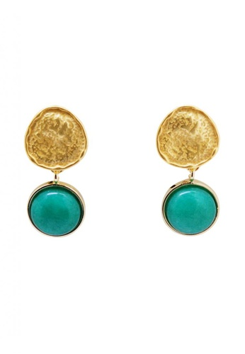 SKEDA blue Kyla Stone Pendant Drop Earrings FF03EACFB60547GS_1