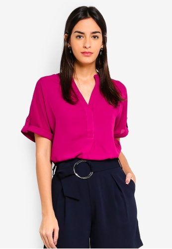 d6a06681027 Shop WAREHOUSE Open Neck Short Sleeve Blouse Online on ZALORA Philippines