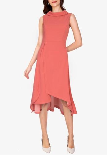 ZALORA WORK pink Asymmetric Hem Dress 72284AA0D7B939GS_1