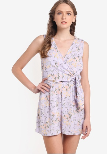 Miss Selfridge purple Lilac Floral Playsuit MI665AA89LSKMY_1