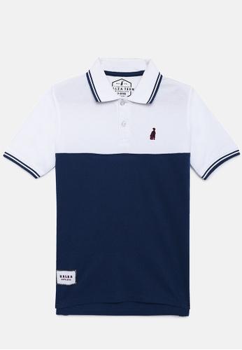 ZALZA white and navy Roblex 100% Organic Cotton Boys Polo Tee - White/Navy C20F1KAD242C72GS_1