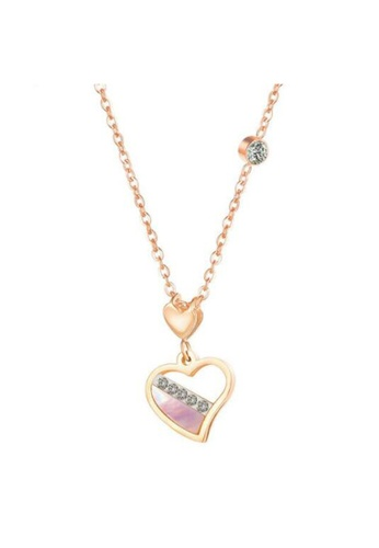 YOUNIQ YOUNIQ ROSA Pink 18K Rosegold Love in Pink Heart Titanium Steel Necklace with Pink Cubic Zirconia Stone 9EED5AC0FB2628GS_1