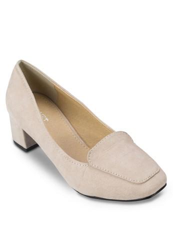 zalora鞋Leslie 方頭仿麂皮粗跟鞋, 女鞋, 厚底高跟鞋