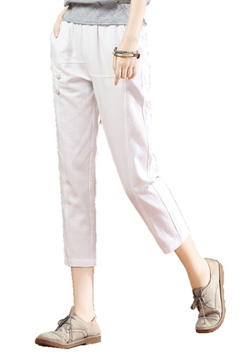 A-IN GIRLS white Elastic Waist Trousers 377F7AA2ECC135GS_1