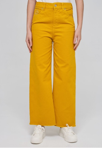 United Colors of Benetton 黃色 素色單寧寬褲 A369DAA64788D7GS_1