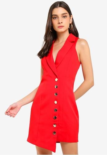 MISSGUIDED red Asymmetric Button Blazer Dress 89F09AAA0A0782GS_1