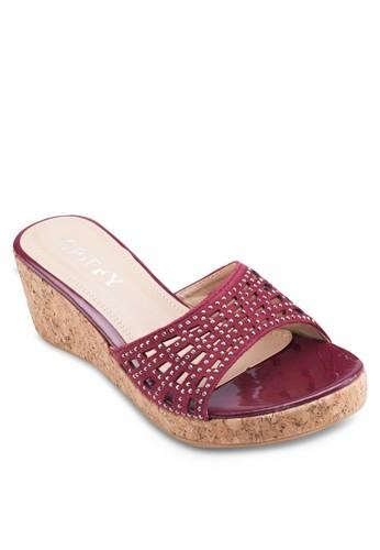 閃飾寬帶楔形涼鞋, 女鞋, esprit taiwan鞋