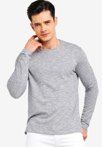 MANGO Man blue Striped Cotton T-Shirt CC62AAA4C609FDGS_1