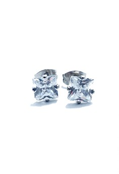 Stainless Steel 4mm Princess Cut Earrings