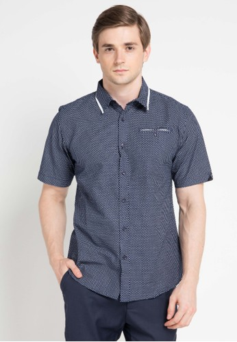 Contempo multi and navy Men Shirt S/S Casual CO339AA0VUNEID_1
