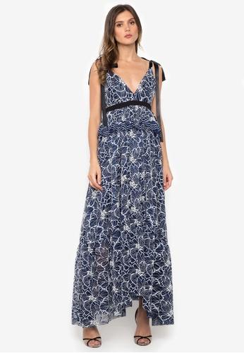 NOBASIC navy V Neck Ruffled Maxi Lace Dress 91D0CAA85D7178GS_1
