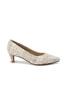 551e4a5bd23 Shu Talk beige LeccaLecca Tweed Fabric Pointed Toe Leather Heels  A81C2SH30ECEABGS 1