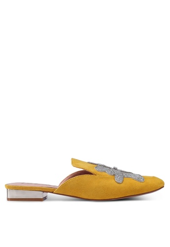 River Island yellow Plymouth Emb Backless Loafer Heels 36A36SH9C12A60GS_1