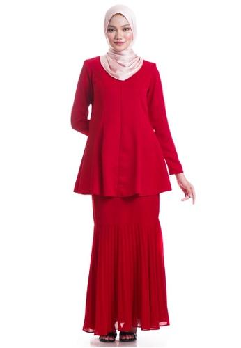 Ashura red Fatemah Kurung With Pleated Mermaid Skirt AEC57AA6CCFC5DGS_1