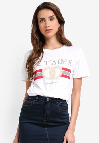 MISSGUIDED white Je T'Aime Graphic Oversized T-Shirt 03ACDAA6333465GS_1