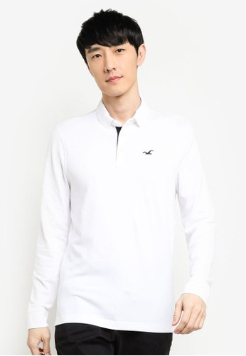 Hollister white Long Sleeve Polo Shirt 9F01CAA2C921EAGS_1