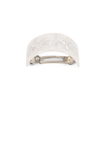 Glamorousky white Simple and Fashion White Geometric Curved Hair Slide 4BD3EACDE4420CGS_1