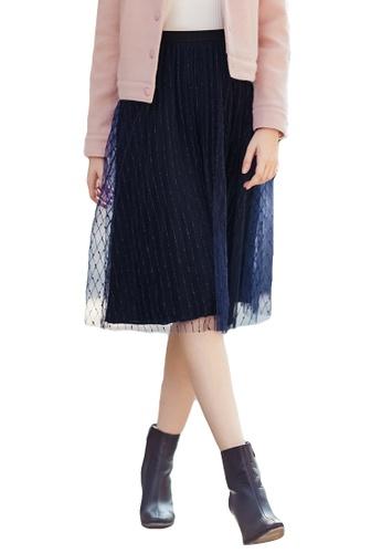 afb6234d6 A-IN GIRLS navy Fashion Gauze Mosaic Pleated Skirt 6B800AA9DB51B8GS_1