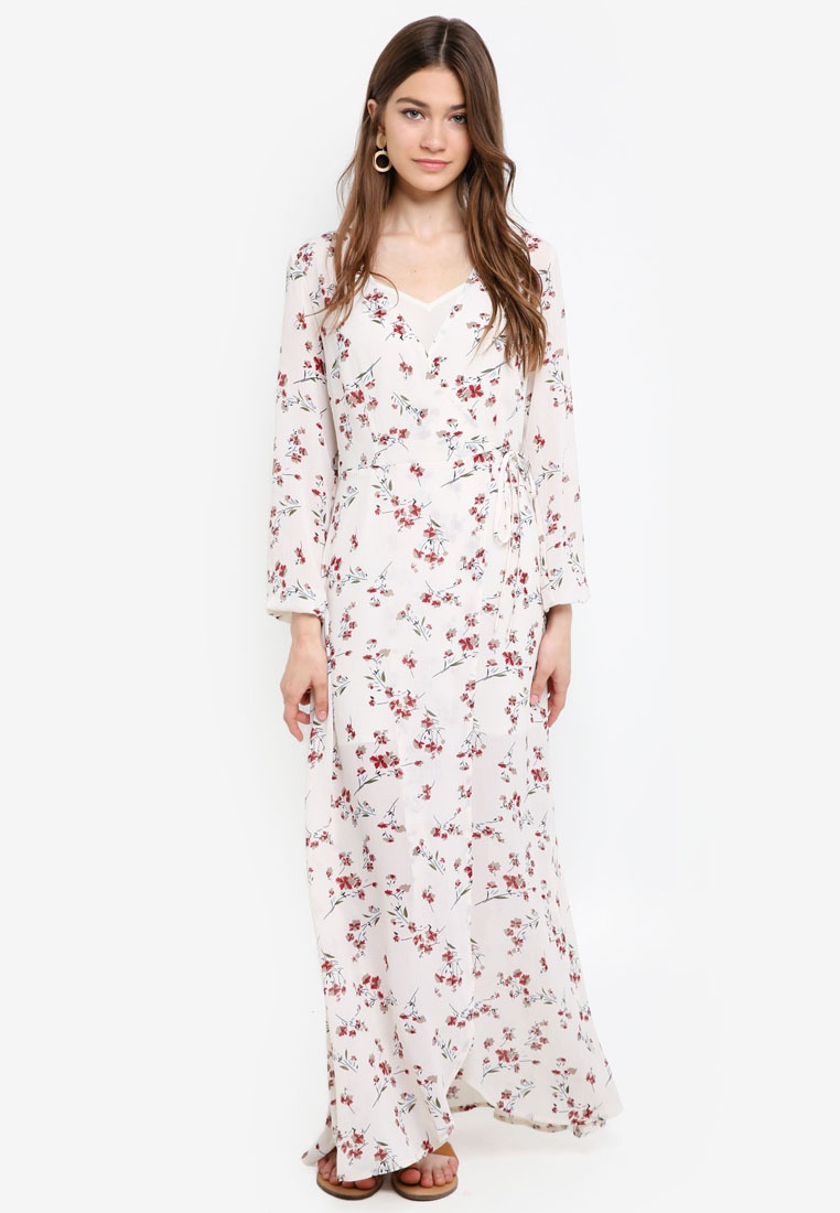 Wrap Based 2 1 Borrowed White Maxi in Something Dress Print Awp7xqOp