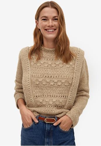Mango brown Openwork Knit Sweater 9CB13AA980C5BEGS_1