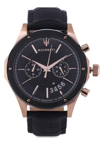 Maserati black Circuito 44mm Chronograph Leather Strap Watch MA410AC95HGUMY_1
