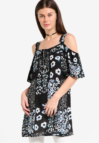 Dorothy Perkins black Floral Patchwork Tunic DO816AA85POOMY_1