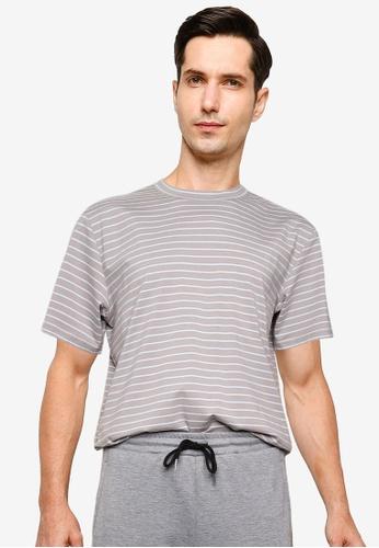 ZALORA BASICS grey Multi Stripe T-Shirt 5C07BAA23B0DCAGS_1