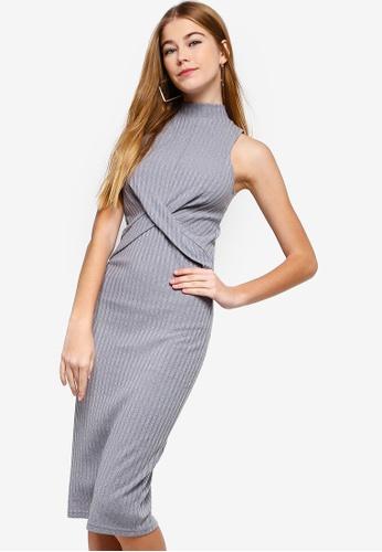 Something Borrowed grey Twisted Rib Midi Dress 76192AA18B3553GS_1
