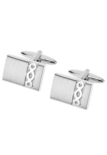 CUFF IT silver Embossed Infinity Rectangular Cufflinks CU047AC80EHVHK_1
