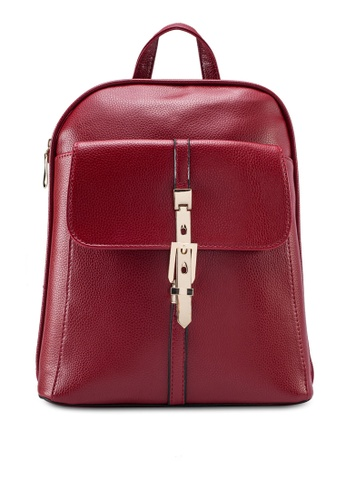 Bagstationz red Bagstationz Pebbled Texture Backpack With Metal Lock BA607AC05KIKMY_1