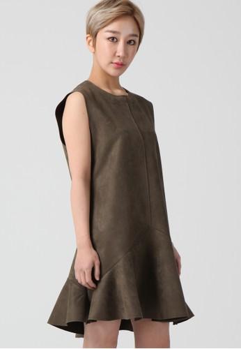 韓流時尚 esprit分店地址 無袖A線條喇叭裙 F4002, 服飾, 及膝洋裝