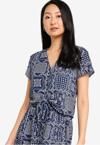 ZALORA BASICS navy Front Tie Resort Shirt 46B57AA4D0551EGS_1