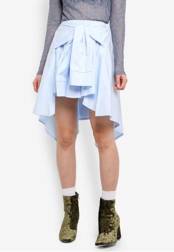 Stylenanda blue Uneven Hem Front Tie Skirt 9D3CDAAF700506GS_1