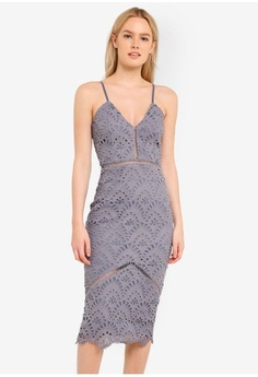 1cfb55dce0c6 MISSGUIDED. Blue Lace Ladder Detail Midi Dress