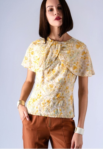 miss Viola yellow FLORAL-PRINT COVERED SLEEVE D9997AA7B5F792GS_1