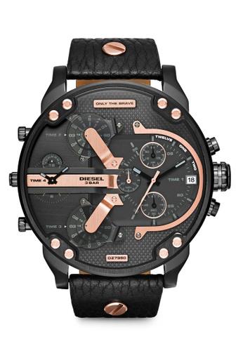 Diesel black Diesel Mr Daddy 2.0 Black Leather Watch DZ7350 DI095AC81NLEMY_1