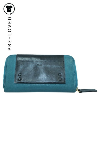 Chloé green Pre-Loved chloé Teal Green Zip Around Leather Wallet C09C5ACAC58D88GS_1