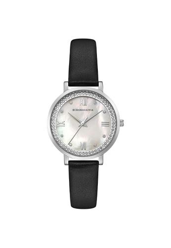BCBG black BCBGMAXAZRIA BG50665003 Silver and Black Leather Watch FCAF0ACEE5396EGS_1