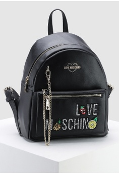 dc68504ffd Love Moschino black Chain Zip Around Backpack 300E0AC7EB6482GS_1