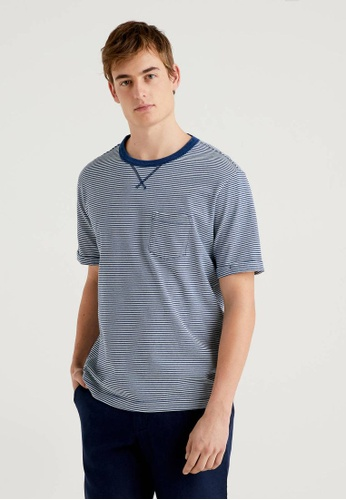 United Colors of Benetton grey 100% Cotton Striped T-shirt 47B17AA488AB4FGS_1