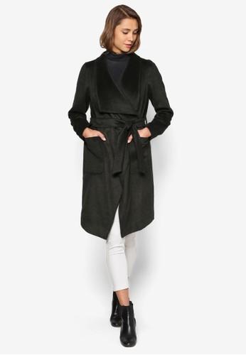 流水式繫帶大衣, 服飾, 夾克 & esprit專櫃大衣